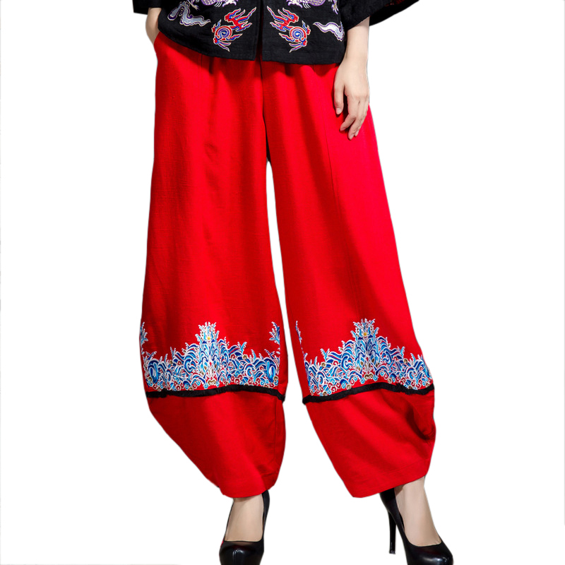 Red Chinese Lady   Wide     Leg     Pants   Casual Embroidery Pockets Full Length Trousers Ethnic Cotton Linen Flower   Pant   Size L-XL