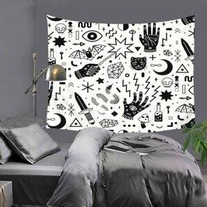 Image 5 - Citected tapiz de cráneo de terror para el hogar mantel de poliéster colgante de pared, toalla de playa Manta, 9 colores, blanco y negro