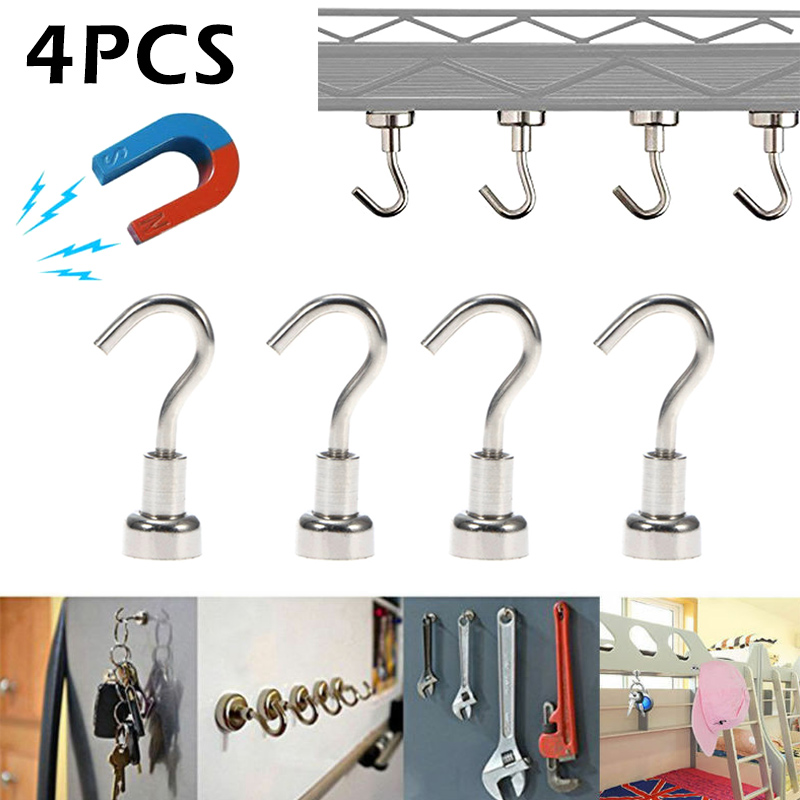 New Hot 4pcs Magnetic Hooks Powerful Heavy Duty Neodymium Magnet Refrigerator Surfaces Not Scratch SMD66