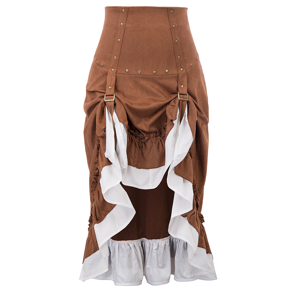 Women Steampunk Skirts Summer Club Wear Party Victorian Studs Decorated Ruffled Irregular High-Low Mid-length Skirt Gothic Lady
