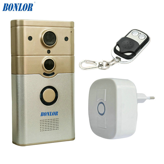 BONLOR WiFi Smart Deurbel met PIR Alarm voor Real time Video & Call,  Unlock, foto, Videotape door Mobiele APP & Tablet PC-in Doorbell from  Security &