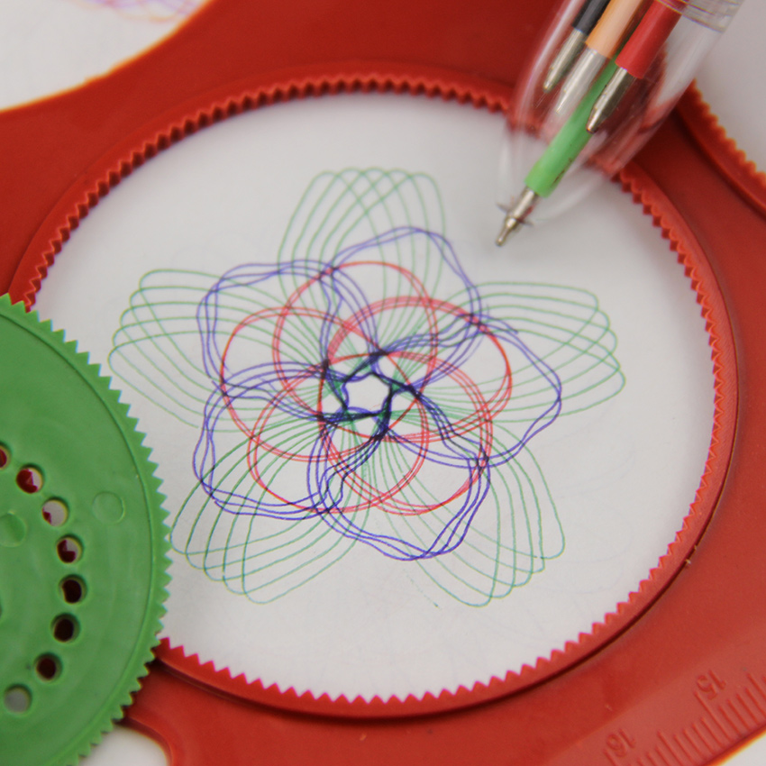 1 Set Novelty Spirograph Magic Turtle Rabbit Board Sketch Pad Drawing Board Magic Pen Kids Educational Drawing Ruler