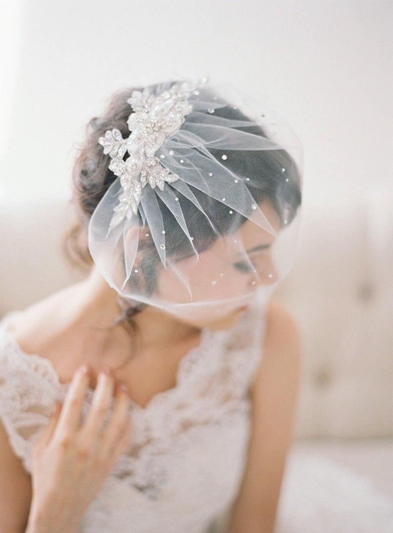 Birdcage Veil with Bridal Headpiece Wedding Hair Pin  Bridal Hair Comb Crystal Pearl,Bridal veil Head Piece hair Jewelry
