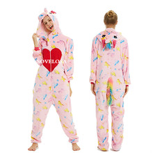 New Adults Animal Kigurumi Pajamas Sets Sleepwear Cosplay Zipper Women Men Winter Unisex unicornio Stitch Cartoon Unicorn Pyjama
