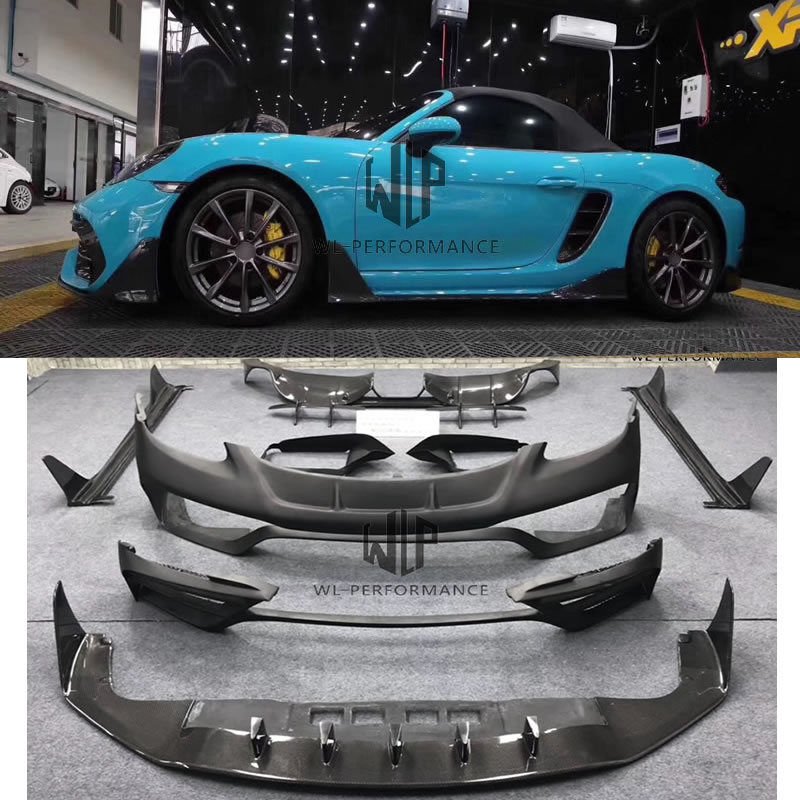 High quality Body kits Front bumper Rear lip Side skirts Engine hood Spoiler Side fenders For Porsche <font><b>718</b></font> <font><b>boxster</b></font> cayman image