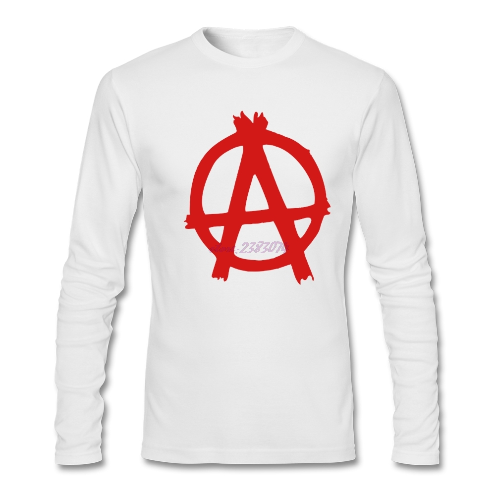 Design your own eco-friendly t-shirt - Interesting Anarchy Man Cotton T Shirt Men Organic Cotton Long Sleeves Tees Design Your Own Shirt