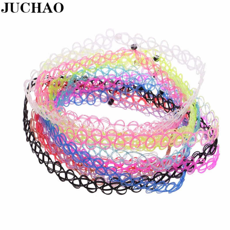 JUCHAO New Collares Vintage Stretch Tattoo Choker Necklaces For Women Girl Charm Gothic Elastic Necklace Female Wedding Gift