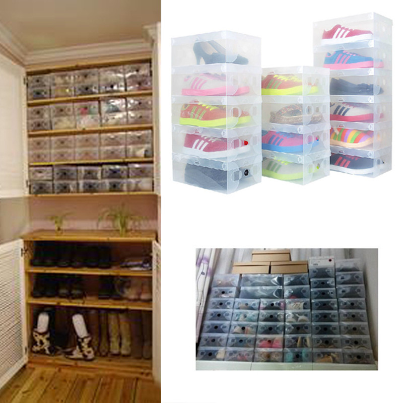 high quality 10pcs lot foldable plastic shoe storage case boxes bag stackable organizer shoe. Black Bedroom Furniture Sets. Home Design Ideas