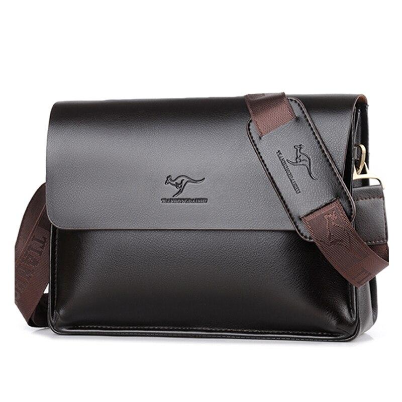 Brand Men s Bag Briefcase casual messenger bag A4 document leather male shoulder bag Black Business