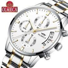 OLMECA Men's Fashion Stainless Steel Watch Men Watches Luxury  Military Waterproof Quartz Wristwatches Relogio Masculino
