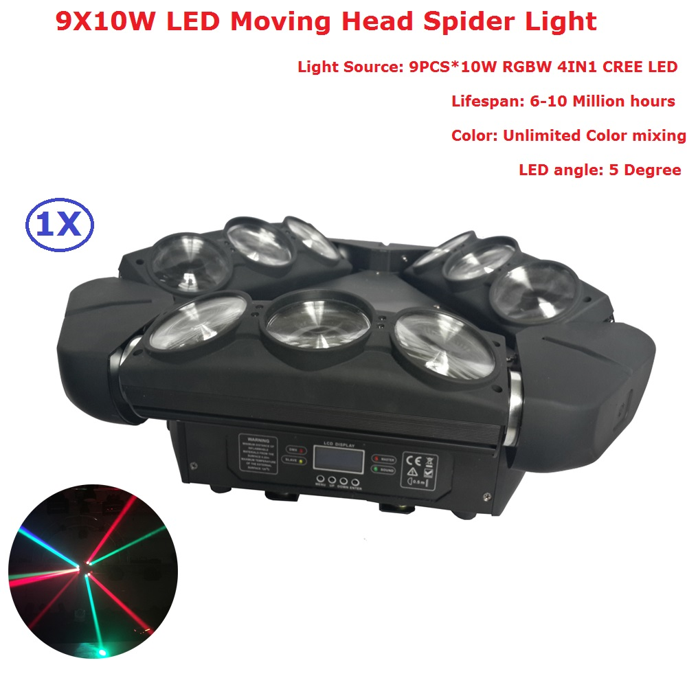 2019 Newest Moving Head Spider Lights 9X10W RGBW Quad Color Led Beam Lights Professional Stage Dj Disco Party Lighting Equipment