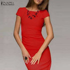 Save 6.82 on Hot Sale 2017 Summer Dress Women Bodycon Office Party Dresses Short Sleeve O-Neck Package Hip Slim Vestidos Plus Size S-3XL