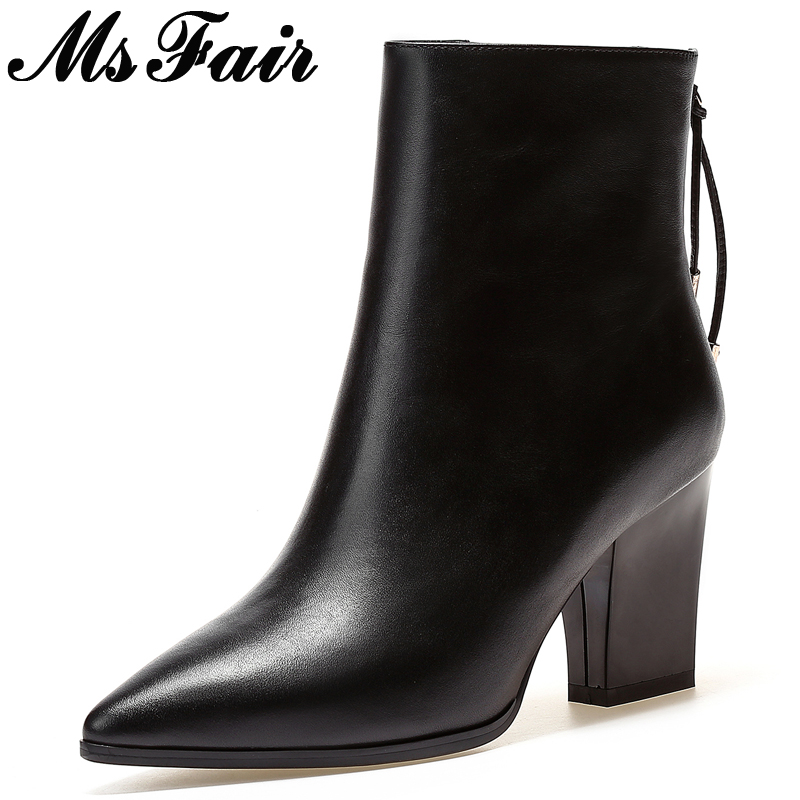 MsFair Pointed Toe High Heel Women Boots Metal Decoration Square heel Ladies Ankle Boots 2017 Winter Fashion Zipper Women Boots fashion pointed toe lace up mens shoes western cowboy boots big yards 46 metal decoration