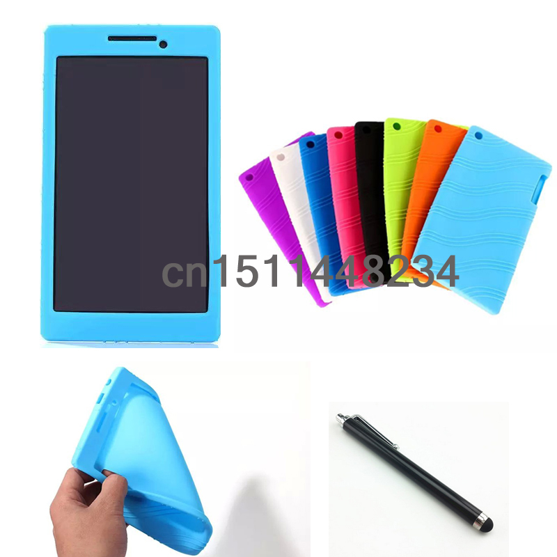 High quality fashion cover For Lenovo Tab 2 A7-20 7 Silicone case Cover For lenovo tab 2 A7-20 / Tab 2 A7-10F Tablet case+Stylu new arrival prints pattern folio stand cover protective print flower leather case for lenovo tab 2 tab2 a7 30 a7 30tc hc gc g h