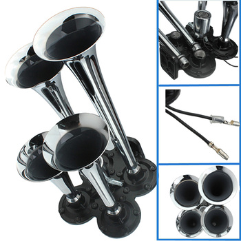 150.2db Silver Chrome Plated Zinc Alloy 4-Trumpet Train Air Horn Kit air horn 4pipe