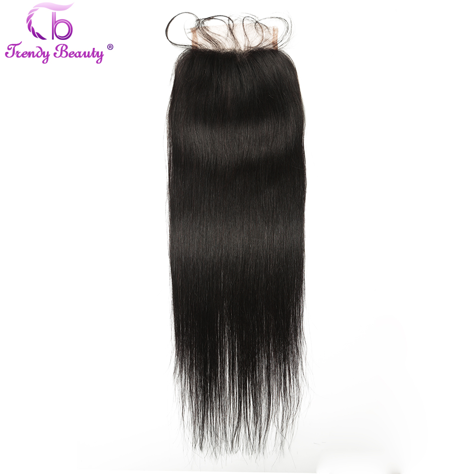Trendy Beauty Hair Indian straight Lace Closure 100% human hair free/middle/three part natural black color non remy hair