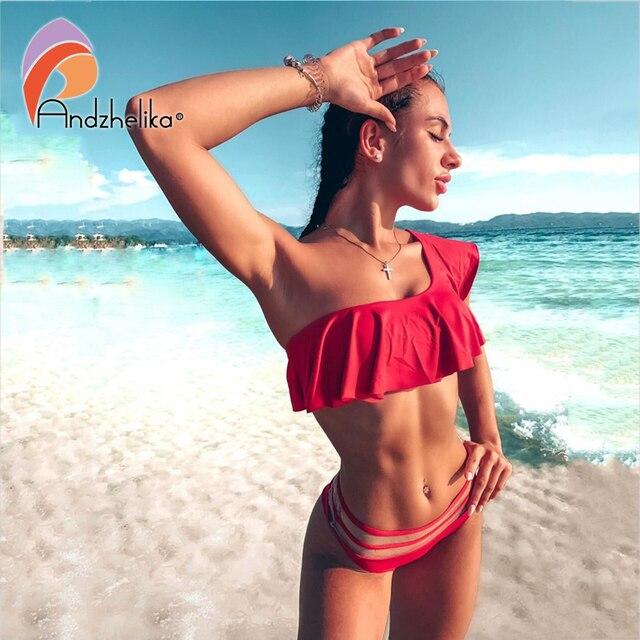 Andzhelika Bikini kadınlar 2019 yeni bir omuz seksi brezilyalı Lotus yaprağı mayo plaj mayo örgü bel bikini setleri mayo