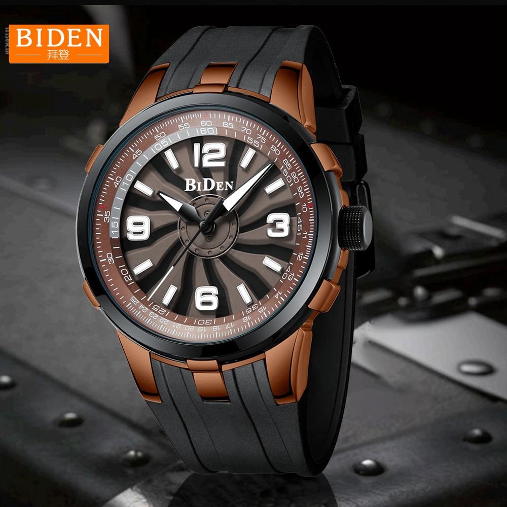 fa22ae708eb5 BIDEN 2018 nuevo reloj hombres girar Dial de lujo marca correa de silicona  estéreo dial de deporte para hombre reloj de pulsera hombre impermeable  Colock en ...