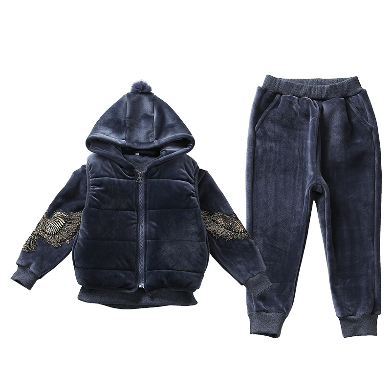 Children Embroidery Clothing Winter Girls Vest+Hoodies+Pants Thick Warm Outfit Girls Clothes Suit 3Pcs Girls Clothing Sets CA454 купить недорого в Москве