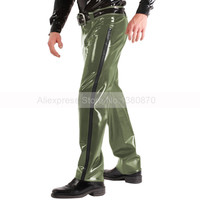 Latex Men Rubber Military Trousers Army Green Long Pants with Waist Belt Plus Size Customized Handmade S LTM039