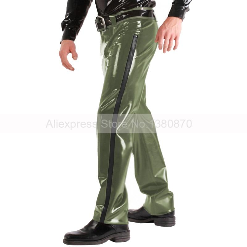 Latex hommes en caoutchouc militaire pantalon armée vert Long pantalon avec ceinture grande taille personnalisé à la main S-LTM039