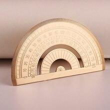 1 stücke Dreieckige Skala Lineal Vintage Retro Stil Messing Winkelmesser Schreibwaren Metall EDC Messung Werkzeug Geometrie
