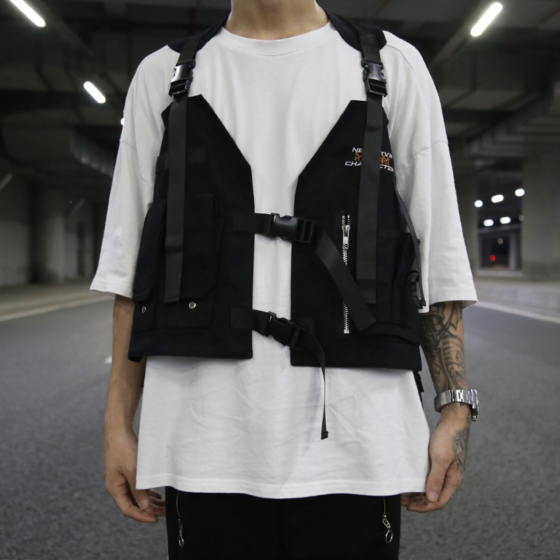 Hip Hop gilets sans manches Cargo gilet plusieurs poches Zipper veste militaire Streetwear tactique gilet Sweatshirts taille sac