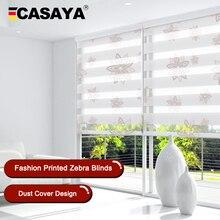 Hight Quality Zebra Blinds Dustproof Cover Valance Printed Window Blinds kitchen bedroom living room Roller Blinds Custom Size