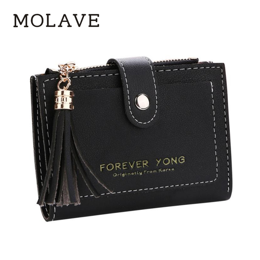 MOLAVE wallets wallet female Solid coin purse PU Leather Women Simple Retro Letters Short Wallet Coin Purse Card Holders Feb8 unishow long women wallet envelope women purse clutch pu leather ladies wallet simple female purse coin card holders