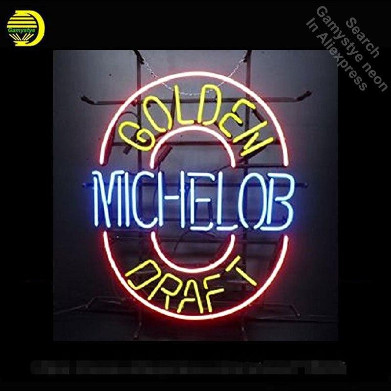 Enseigne au néon pour Michelo bière or ébauche néon Tube signe artisanat Commercial fenêtres néon lampe de poche signe décorer Bar à bière pub