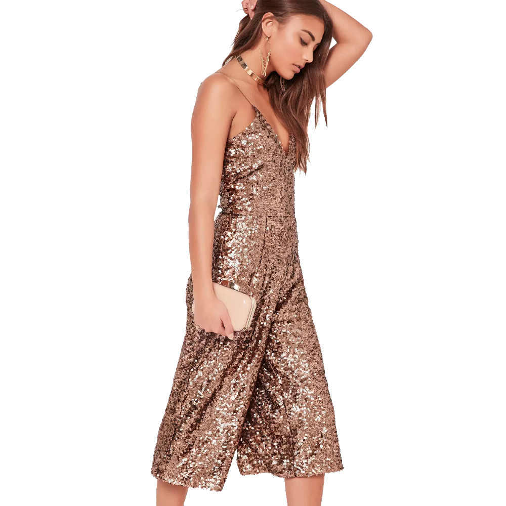 3d4c4d8cfa6 ... Brown spaghetti strap sequined wide leg cropped jumpsuits for women  stylish V neck sexy palazzo jumsuits ...