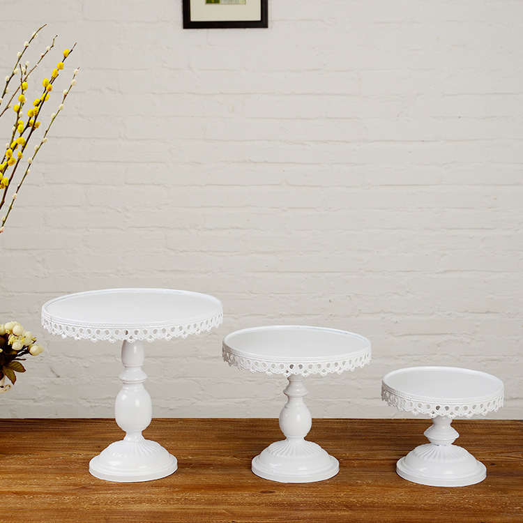 Buy white metal cake stand iron art and for Stand decoration
