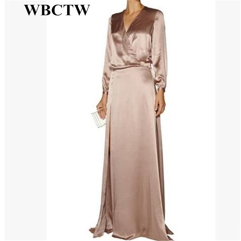 Detail Feedback Questions about WBCTW Champange Color Maxi Satin Dress Long  Sleeve High Waist Women Party Dress A Line Casual Fashion 6XL 7XL Plus Size  ... 1b136170c9c6