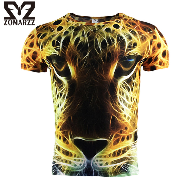 New Fashion Golden Leopard 3D Printed T-shirt Mens Short Sleeve Compression Casual Yellow Tops O Neck Male Summer Clothing