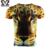 Nova Moda Golden Leopard 3D Impresso T-shirt Dos Homens de Compressão De Manga Curta Casual Amarelo Tops O Pescoço Masculino Roupas de Verão