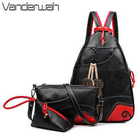VANDERWAH Hot Sale 2017 Women Backpack Preppy Style Leaf Shoulder Bag School Leather Backpack Three Sets