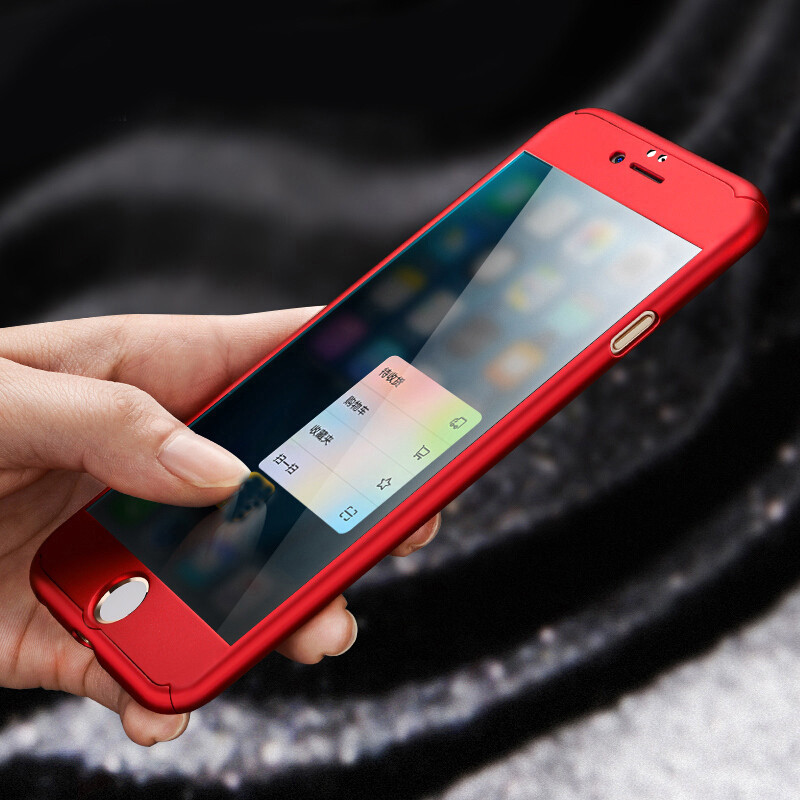 360 Case For iPhone 6 6S 7 Plus Case Hard Shockproof Slim Cover Full Coverage Degree Protective Tempered Glass For iPhone 7 6s