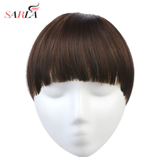 SARLA синтетические накладные волосы на заколках для наращивания, бахрома на заколках, тупые челки, шиньон для волос, натуральный волнистый черный коричневый B7