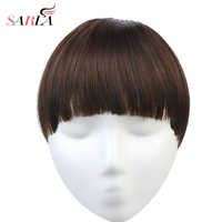 SARLA Synthetic Fake Clip in Bang Hair Extensions Fringe Clip On Blunt Bangs Hairpiece Hair Piece Natural Flase Black Brown B7