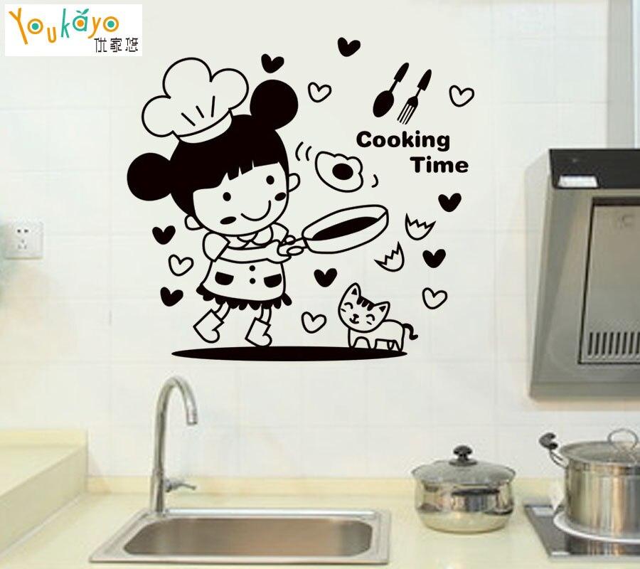Chef felice in Tempo di Cottura Cute Girl Cat Wall Sticker per ...