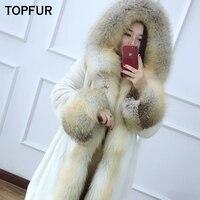 TOPFUR New Arrival Real Fur Coat Women With Fox Fur Collar And Cuff High Quality Mink Fur Jacket Winter Luxury Mink Fur Coat