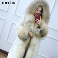 TOPFUR New Arrival Real Fur Coat Women With Fox Fur Collar And Cuff High Quality Mink Fur Jacket Winter Luxury Mink Fur Coat