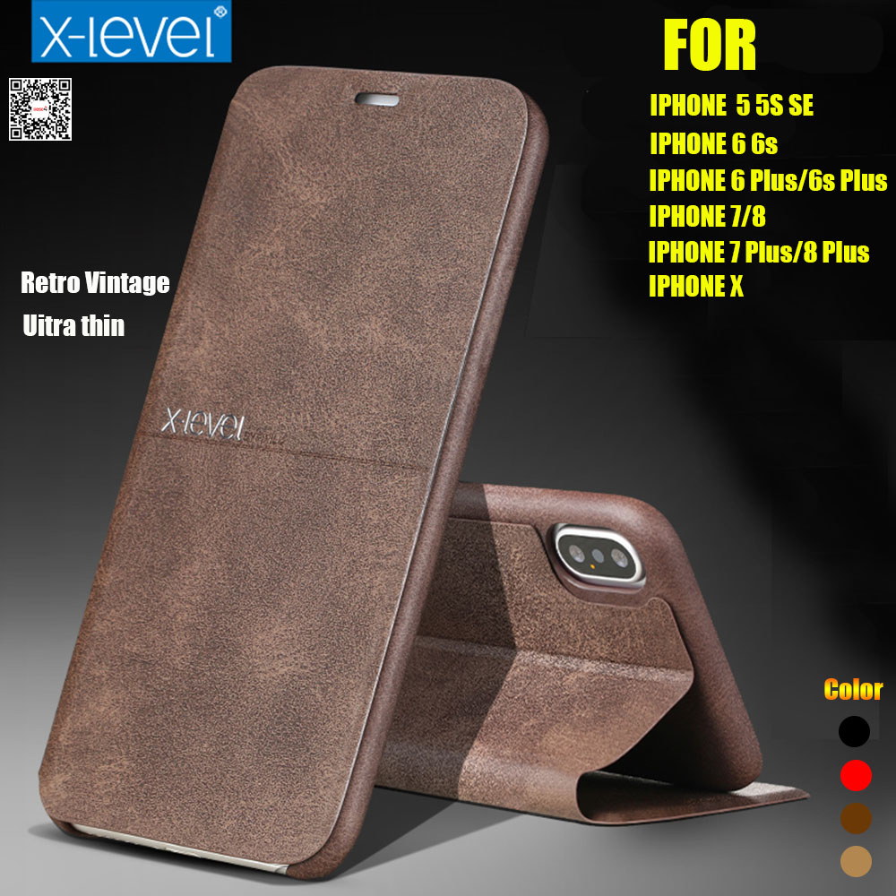 X-Level Extreme Flip Leather Case For IPhone X XR XS Max Retro Vintage Book Wallet Cover For IPhone 7 Plus 8 Plus 6 6S Plus 5s