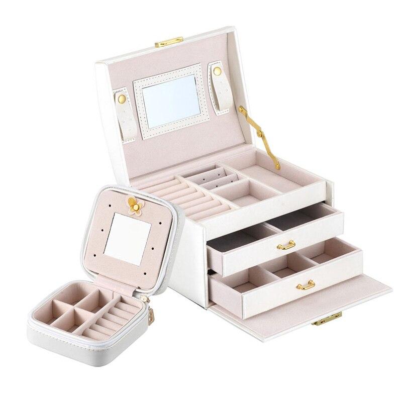 2 pcs/ensemble Grande Capacité Papelaria Organizador Femmes Bijoux Organisateur Bijoux Boîte De Rangement Avec Miroir De Maquillage Pour Les Filles
