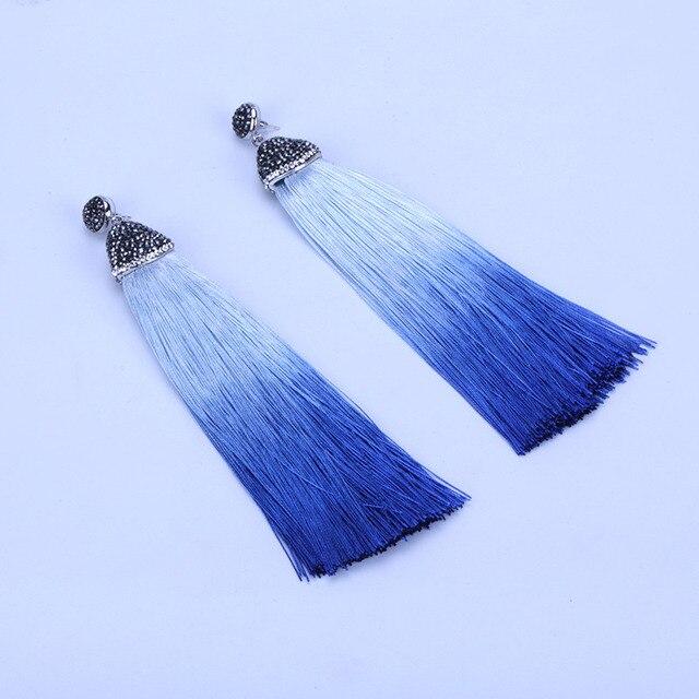 Boho Rhinestone Studs Connector Charm Sky Royal Blue Gradient Shaded Silk  Thread Extra Long Big Tassel Dangle Earrings for Women 0c29d6f941ce