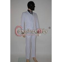 Cosplaydiy Arkham Origins Roman Sionis Black Mask Stripe Suit Adult Men Hot Movie Halloween Cosplay Costume Custom Made D0616