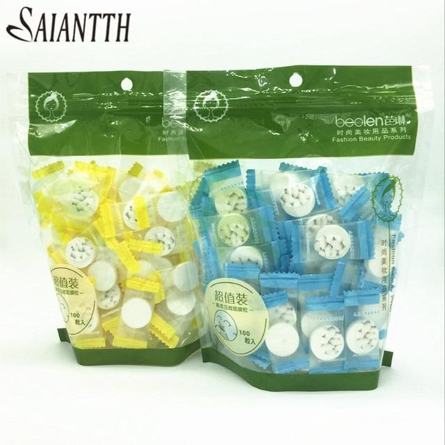 SAIANTTH 100 pçs/saco comprimido máscara filme cápsulas de compressão tipo de seda doces facail máscara facial máscara de papel ferramenta de beleza cuidados com a pele
