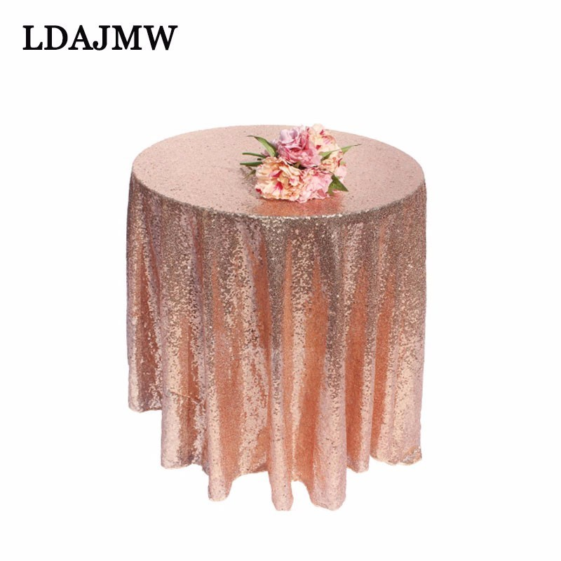 LDAJMW Rose Gold Sequins Tablecloth Shiny Bright Tablecloth Beautiful Wedding Party Gold Silver Champagne Tablecloth Decoration