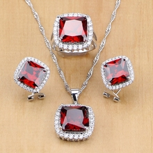 925 Sterling Silver Jewelry Red Zircon White CZ Jewelry Sets Wedding Decorations For Women Earrings/Pendant/Necklace/Ring jexxi gorgeous rainbow clear zircon wedding party jewelry sets women square 925 sterling silver pendant necklace earrings set
