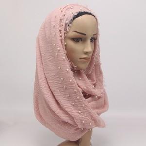 Image 3 - 2019ผ้าพันคอผ้าพันคอลูกปัดBubble Pearlริ้วรอยShawls Hijab Drapeเย็บผ้าพันคอFringe Crumpleผ้าพันคอมุสลิม/55สี